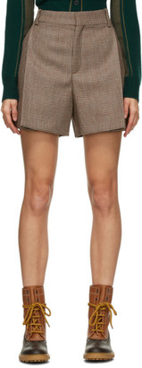 Chloé Brown Wool Houndstooth Shorts