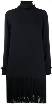 Prada High Neck Tassel Midi Dress