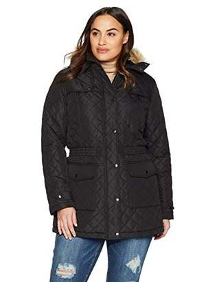 THE PLUS PROJECT Women's Plus Size Puffer Jacket with Contrast Sleeves 2X-Large