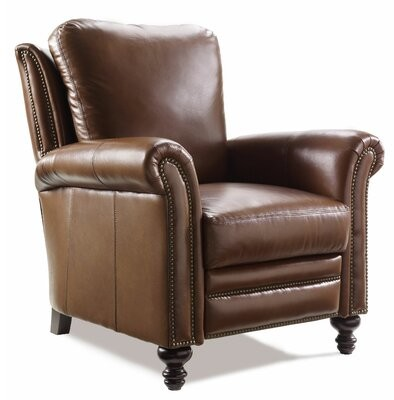 """Bradington-Young Richardson 36.5"""" Wide Genuine Leather Power Standard Recliner Nailhead Detail: Gunmetal with Tapered Leg"""