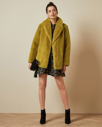 Ted Baker Double Breasted Faux Fur Coat