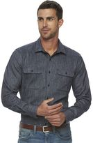 Marc Anthony Men's Slim-Fit Marled Striped Flannel Button-Down Shirt