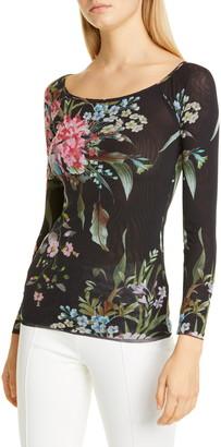 Fuzzi Floral Sequin Embellished Mesh Top