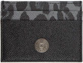 Dolce & Gabbana Black Leopard Logo Stud Card Holder