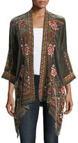 Johnny Was Waleska Draped Embroidered Velvet Cardigan, Plus Size