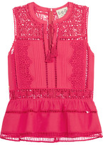 Sea Crochet-paneled Cotton-voile Peplum Top - Fuchsia