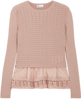 RED Valentino Point D'esprit-trimmed Ribbed Pointelle-knit Cotton Sweater - Antique rose