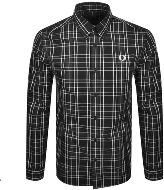 Fred Perry Long Sleeved Check Shirt Black