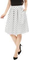 Allegra K Women Side Pockets Box-Pleated Polka Dots Prints Full Skirt
