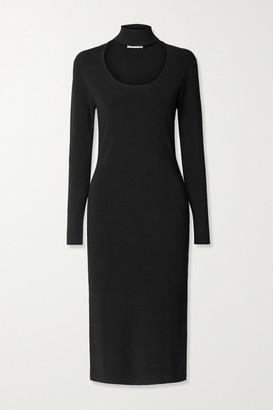 Ninety Percent Cutout Stretch-knit Turtleneck Midi Dress - Black