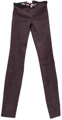 Helmut Lang Purple Suede Trousers for Women