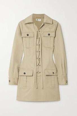 Saint Laurent Lace-up Cotton-twill Mini Dress