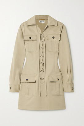 Saint Laurent Lace-up Cotton-twill Mini Dress - Beige