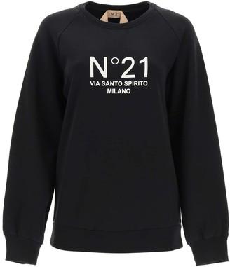 N°21 N.21 CREWNECK SWEATSHIRT WITH LOGO PRINT 38 Black, White Cotton