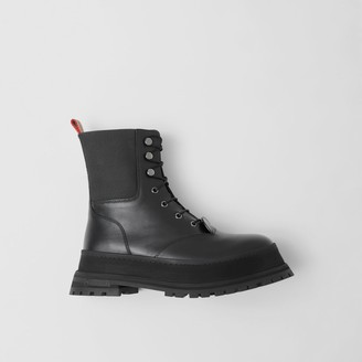 Burberry Icon Stripe Detail Lace-up Leather Boots