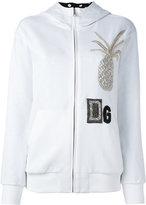 Dolce & Gabbana crystal pineapple patch hoodie - women - Cotton/Silk/glass/Polyester - 38