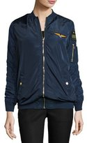 Romeo & Juliet Couture Long-Sleeve Patched Bomber Jacket, Navy