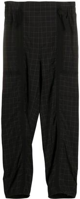 Maison Flaneur Grid-Print High Waisted Trousers