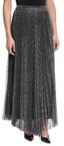 Alice + Olivia Katz Metallic Pleated Maxi Skirt, Dark Silver