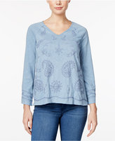 Style&Co. Style & Co Petite Bell-Sleeve Embroidered Top, Only at Macy's