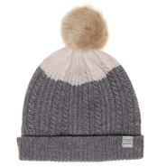 Joules New Womens Grey Knitted Bobble Lambswool Hat Headwear