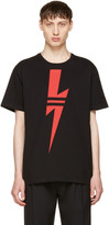 Neil Barrett Black & Red Thunderbolt T-Shirt