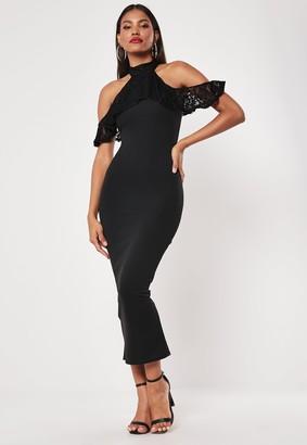 Missguided Black Lace Frill Cold Shoulder Bodycon Midi Dress