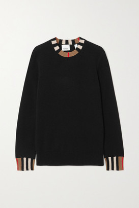 Burberry Striped Cashmere-blend Sweater - Black