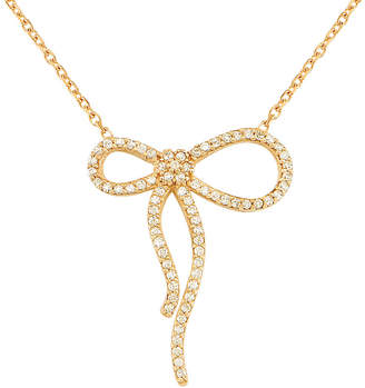 GABIRIELLE JEWELRY Gold Over Silver Cz Bow Pendant Necklace