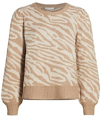 Design History Zebra Puff-Sleeve Sweater
