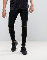 Asos Denim Meggings With Knee Rips In Black