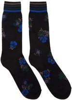 Sacai Black and Blue Flower Socks