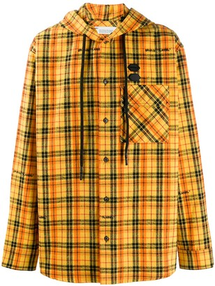 Off-White Check Print Hooded Shirt Jacket