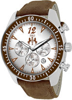 Jivago Timeless Mens Silver-Tone Dial and Black Leather Strap Watch