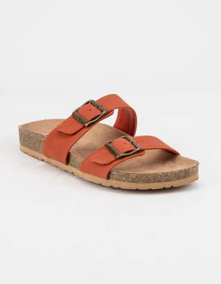 Soda Sunglasses Double Buckle Rust Womens Slide Sandals