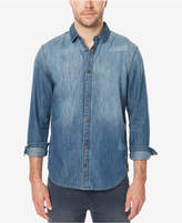 Buffalo David Bitton Men's Distressed Denim Shirt with Faux-Suede Elbow Patches