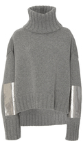 Sally LaPointe Metallic Elbow Patch Pullover