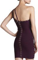 Herve Leger Stud-Trim One-Shoulder Bandage Dress