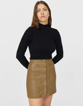 Stradivarius faux leather button front mini skirt in khaki