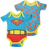 Superman Official Baby Boys Short Sleeve Cotton Bodysuit (Pack Of 2)