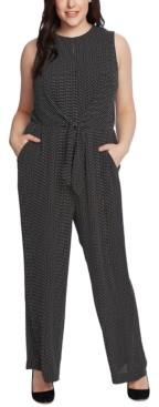Vince Camuto Plus Size Tie-Waist Sleeveless Jumpsuit