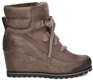 UGG Valory Faux Fur-Lined Leather Wedge Boots