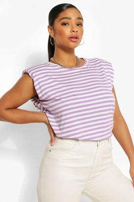 boohoo Plus Stripe Shoulderpad Sleeveless T-Shirt