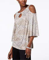 MSK Rhinestone-Embellished Cold-Shoulder Top