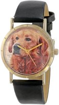 Whimsical Watches Kids' P0130042 Classic Golden Retriever Black Leather And Goldtone Photo Watch