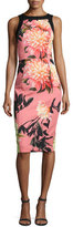 Black Halo Sleeveless Floral Stretch Sheath Dress, Coral Chrysanthemum