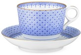 Mottahedeh Tea Cup & Saucer, Cornflower Lace