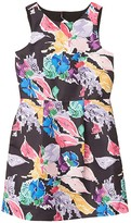 Milly Bouquet Floral Print On Faille Anabelle Dress (Big Kids) (Black Multi) Girl's Clothing
