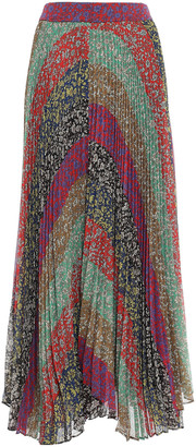 Alice + Olivia Patchwork-effect Pleated Floral-print Crepon Maxi Skirt