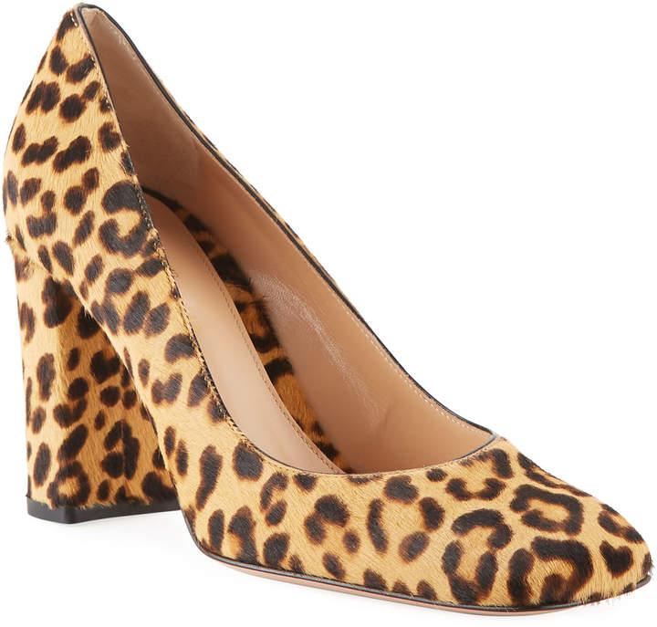 Gianvito Rossi Square-Toe Leopard-Print Fur Pumps